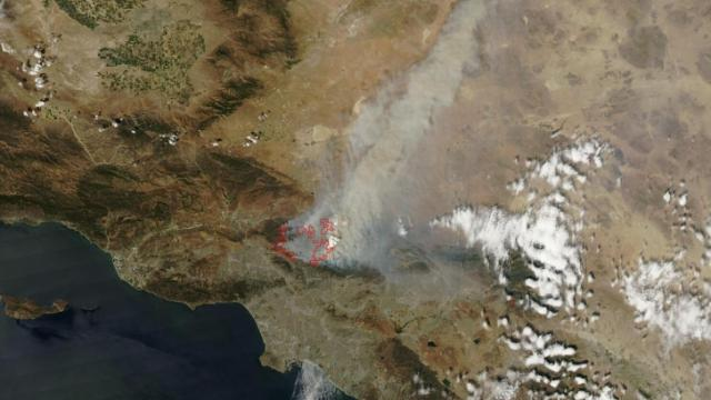 Los Angeles County fire seen from Aqua satellite on 31 Aug 09.