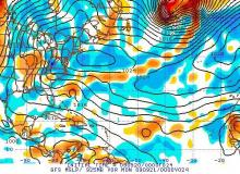 GFS model seal level pressure (black lines) and 925mb vorticity (colors) valid 8 pm Sunday 20 Sep 09.