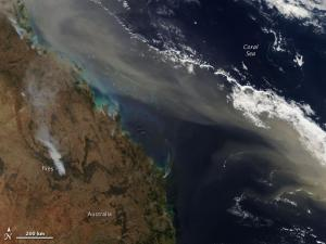 Dust band off northeast Australia on 24 Sep 09, from the NASA Aqua satellite.