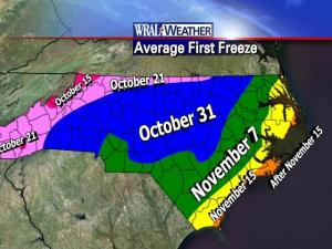 The first freeze usually occurs by the dates shown on the map.  (Courtesy: NWS)