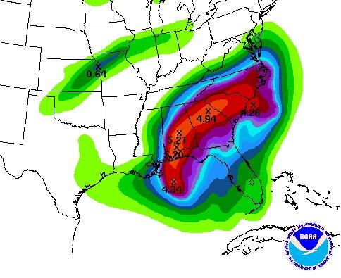 """NCEP estimate of rainfall amounts across the southeast from 7 am Monday 9 Nov 09 through Thursday 12 Nov 09. Red contour over southeastern NC is for possible 3"""" totals."""