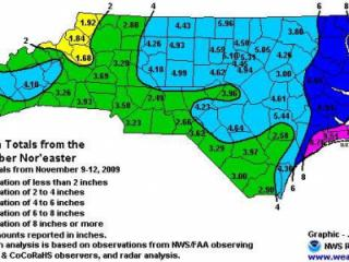 Rainfall totals from the coastal storm of 10-13 Nov 2009, from the Raleigh NWS forecast office.
