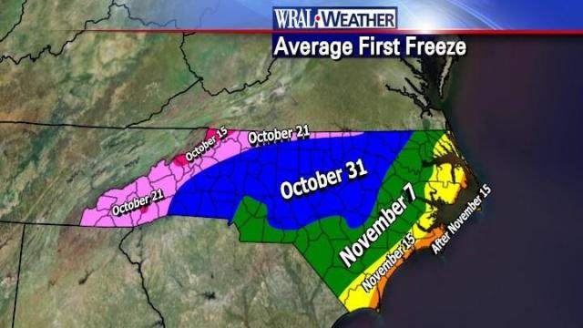 Average first freeze dates across NC.