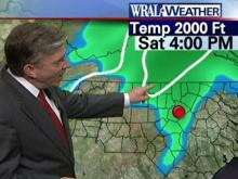WRAL Chief Meteorologist Greg Fishel shows where the snow line will be at 4 p.m. Saturday.