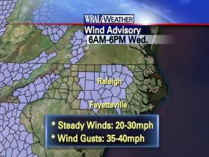 Wind advisory for Wednesday