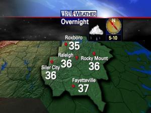 Overnight temperatures, Dec. 12-13, 2009