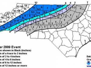Analysis of snow totals for 18-19 Dec 2009. From the Raleigh NWS office.