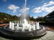 A fountain at the WRAL-TV studios freezes over during chilly weather on Saturday, Jan. 2, 2010.
