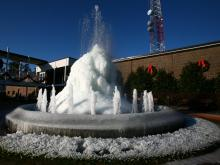 Fountains on the WRAL-TV grounds froze over during a deep chill in early January 2010.