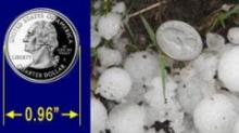 Starting January 5, 2010, hailstones must be att least one inch in diameter for the parent thunderstorm to be considered severe.  (http://www.weather.gov/oneinchhail/)