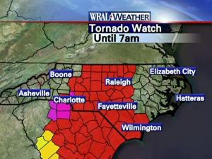 The National Weather Service has issued a tornado watch until 7 a.m. Monday, Jan. 25, 2010, for  most of central North Carolina.