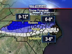 The snowfall forecast for Saturday, Jan. 30, as of Friday evening
