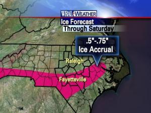 Ice forecast, as of Friday evening