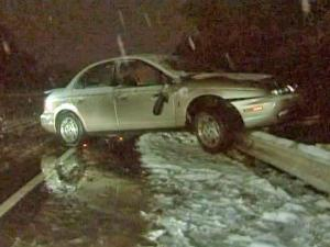 A motorist said slick roads caused him to wreck his car Friday evening at Blue Ridge and Trinity roads in Raleigh.