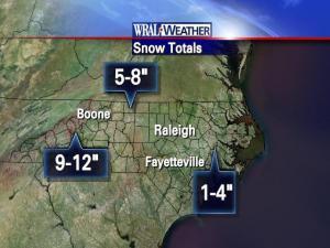 Snowfall totals as of 9 p.m., Jan. 30, 2010