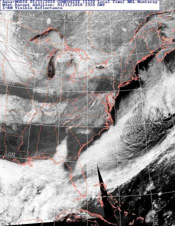 Aqua MODIS imagery showing clouds, snow and ice cover across the eastern U.S. around midday on Sunday Jan 31, 2010.
