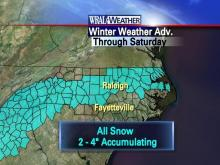 A winter storm watch is in effect for areas south of the Triangle.