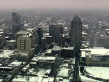 Sky 5 aerial of downtown Raleigh