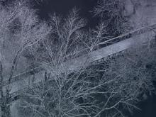 Sky 5 aerial of Raleigh Greenway foot bridge
