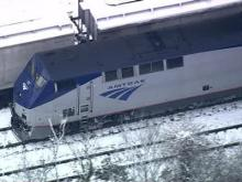 Sky 5 aerial of Amtrak trains
