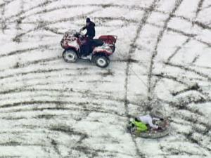 Sledding behind a motorized vehicle raises the risk for traumatic injury.
