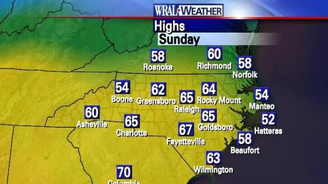 Regional high temperatures observed on Sunday Feb 21, 2010.
