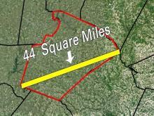 A hypothetical tornado track across Wake County