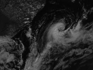"Visible satellite image from the NASA ""GOES Project Science"" archive, showing tropical storm ""Anita"" east of the South American coast on March 11, 2010."