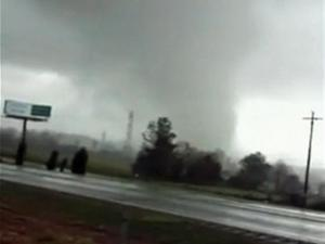 A motorist recorded a funnel cloud near Interstate 85 in Spencer on Sunday, March 28, 2010. (Photo courtesy of You Tube)