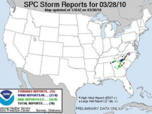 Storm report map from NOAA's Storm prediction Center for March 28, 2010.