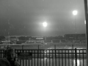 Rain falls over the Durham Bulls Athletic Park on Saturday, May 22, 2010.