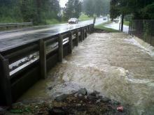Flooding at Little Creek at N.C. Highway 42 in Clayton.