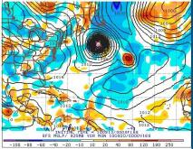 Forecast from GFS of sea level pressure for 8 pm, Sunday Sep 19, 2010.