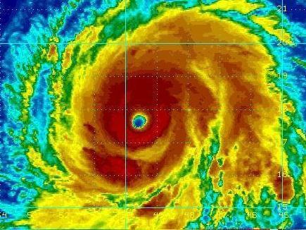 NOAA Satellite image of Hurricane Igor at 9:45 am on Monday, Sep 13, 2010.