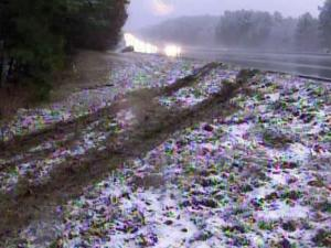 Some cars slipped and slid on slick roads Saturday after an early snowfall dusted roads across central North Carolina.