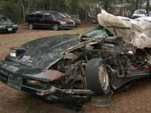 This picture shows the remnants of Larry Raines Corvette, which was hit head-on by a truck whose driver was trying to recover from hitting black ice on Elliott Bridge Road in Spring Lake on Dec. 16, 2010. Raines was killed.