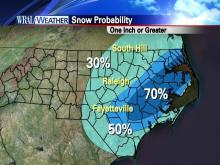 How much snow will we see? Models show that more than an inch of snow is most likely to the east of the Triangle.