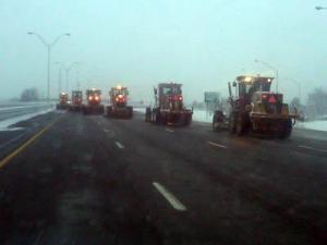 Snow plows clear I-40 near Mebane on Dec. 26, 2010. (Photo courtesy of Catherine Baker)