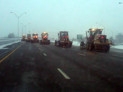 Snow plows clear I-40 near Mebane on Dec. 26, 2010. (Photo courtesy of Catherine Baker)