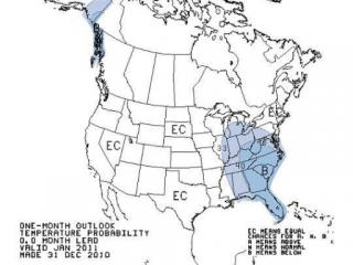 January 2011 temperature outlook from the Climate Prediction Center.
