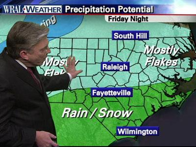 WRAL chief meteorologist Greg Fishel shows snow potential for Friday night.