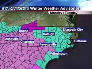 A winter weather advisory kicked into effect Sunday evening for the Triangle. Snowfall was expected to be heavier in the pink areas, where a winter storm warning is in effect.