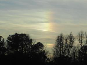Photo sent in by Vivian, looking toward the west-southwest horizon near sunset on January 9th, 2011.