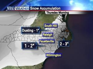 Expected snow accumulation totals for Thursday
