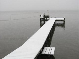 Snow-covered pier, Pamlico Beach, NC on Feb 10, 2011.