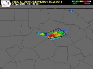 Example of a storm-based warning. In this case, the polygon outlining the warningcovers a very small part of eastern Wake and southern Franklin counties, and about half of Nash County. A storm-based alert system like WeatherCall  would only dial numbers inside the warning area, while a county-based system like Weather Radio would sound alerts for all radios in Wake, Franklin and Nash counties.