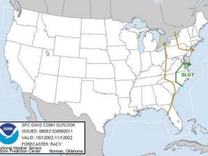 Storm Prediction Center  outlook showing a slight risk of severe thunderstorms for eastern NC and southeastern VA for Thursday, March 10, 2011.