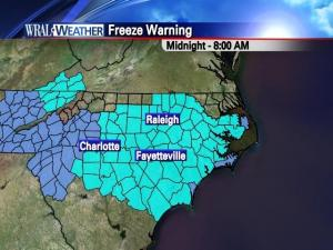 Freeze watches are in effect throughout central NC for Tuesday morning.