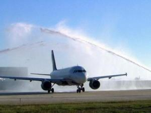 Water cannon salute as our plane taxis to the runway at RDU.