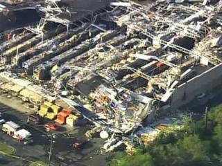 A Lowe's Home Improvement store in Sanford was demolished Saturday after a tornado.